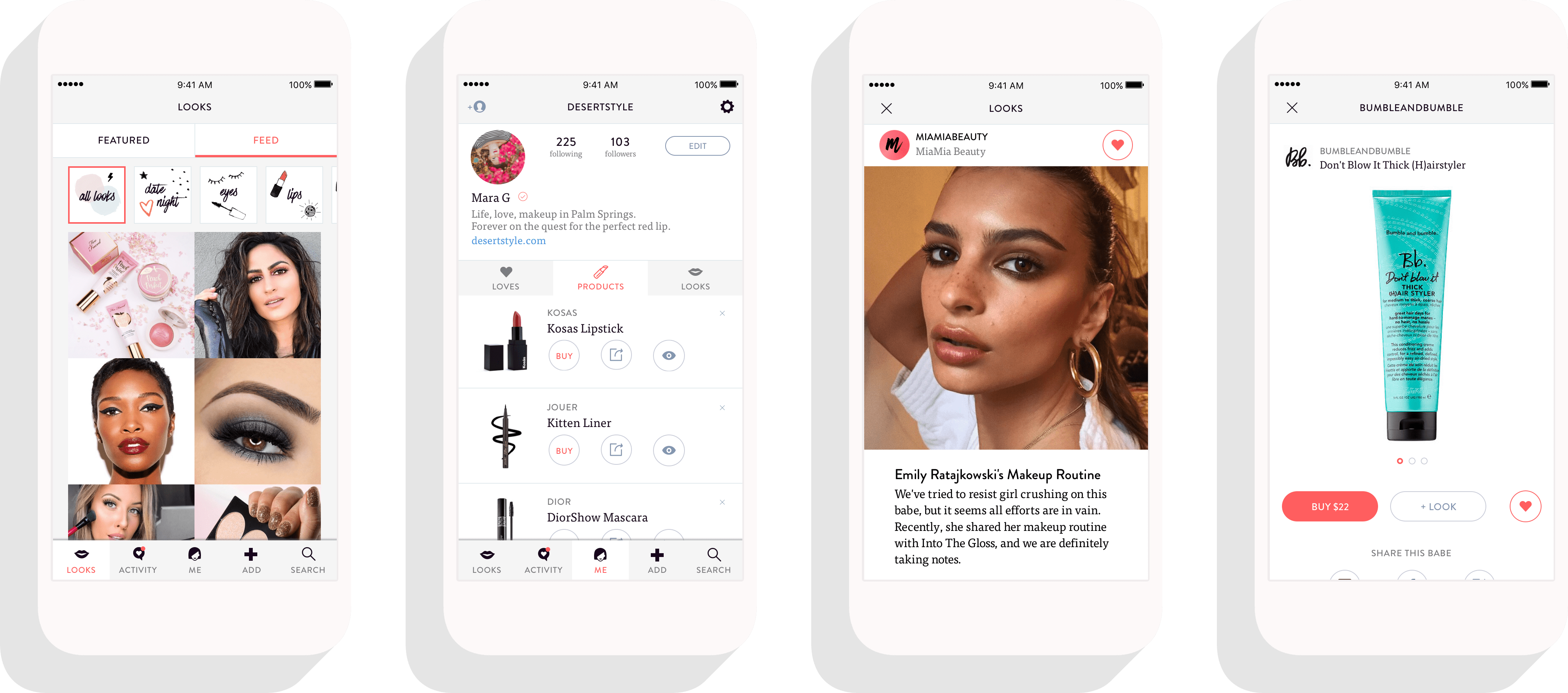 MiaMia Beauty App Screens